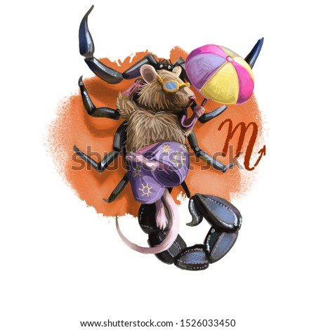 Creative digital illustration of astrological sign Scorpio. Rat or mouse symboll of 2020 year signs in zodiac. Horoscope water element. Logo sign with scorpion. Graphic design clip art for web print