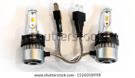 A pair of identical LED bulbs for car headlights made of metal and plastic #1526058998