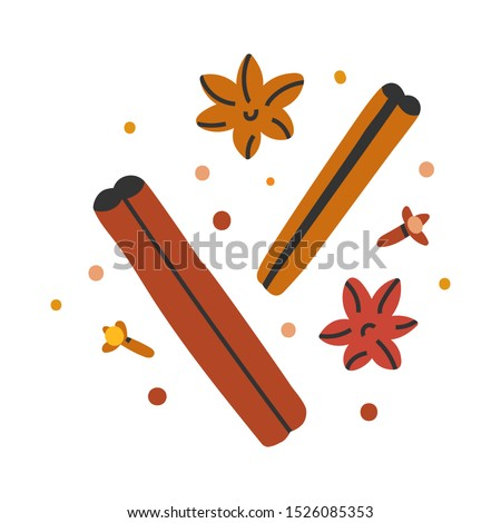 Vector hand drawn illustration of cinnamon stick with spice, seasoning for cooking, baking and mulled wine. Doodle icon in modern trendy flat cartoon style. Royalty-Free Stock Photo #1526085353