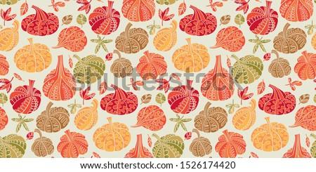 Cute colorful assorted pumpkins seamless pattern for background, wrap, fabric, textile, wrap, surface, web and print design. Cute simple fall season vegetable.   #1526174420