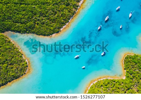 Aerial drone photo of tropical bay. Location place Cres, Croatia, Europe. Breathtaking landscape shot over the sea. Drone photography of most popular tourist attraction. Discover the beauty of earth.