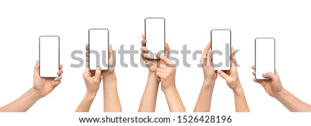 Set of woman's hands using smartphone with blank screen, isolated on white background, panorama #1526428196