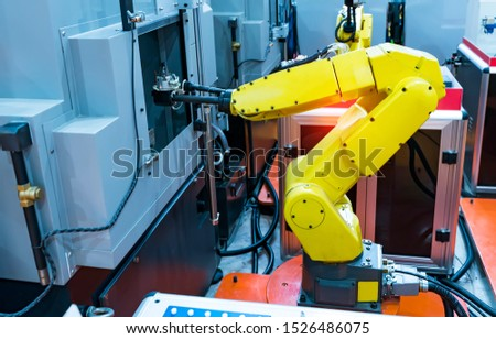 Automation system control application on automate robot arm in smart manufacturing background. #1526486075