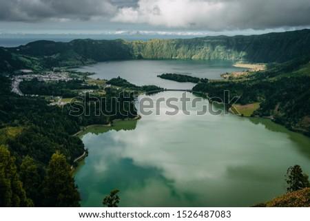 Lagoa Azul and Lagoa Verde in Sao Miguel island, Azores #1526487083