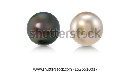 black pearl and white pearl on white isolate