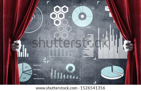 Hand opening red curtain and drawing business graphs and diagrams behind it #1526541356