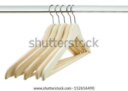 Close up of cloth hangers in row on white background #152656490