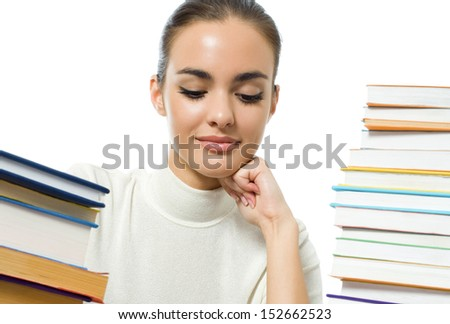 Portrait of thinking girl with textbooks, isolated over white background #152662523
