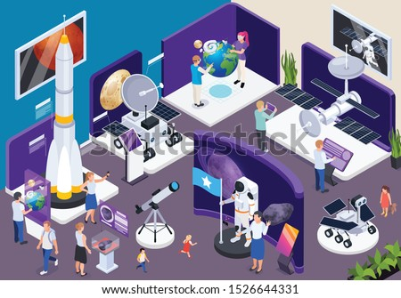 Modern museum astronomical exhibition hall isometric composition with telescopes spacecraft interactive virtual space travel adventure vector illustration  Royalty-Free Stock Photo #1526644331
