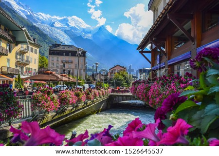 CHAMONIX, FRANCE. View of the  Arve river and Mont-Blanc massif from the centre of Chamonix . #1526645537