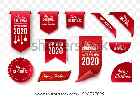 Christmas Tags set. Red scrolls and banners isolated. Merry Christmas and Happy New Year labels. Vector illustration #1526727899