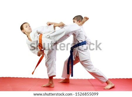 On a red mats sportsmen are training paired exercises karate #1526855099