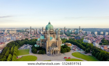 Brussels, Belgium. National Basilica of the Sacred Heart. Early morning, Aerial View   #1526859761