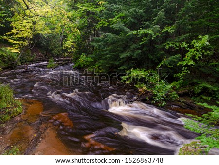 Rapids in the Hurricane River are just upstream from the mouth of the river as it enters Lake Superior in Pictured Rocks National Lakeshore in Alger County, Michigan