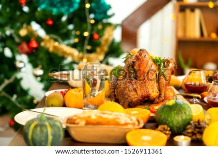 Holiday Turkey Dinner Above view of place setting on Thanksgiving day #1526911361