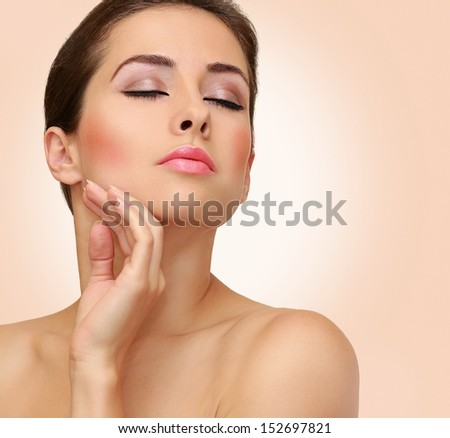 Beauty woman closeup portrait with clean face skin on pink background #152697821