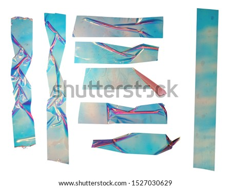Shiny crumpled stickers. Cool set of metallic holographic sticky tape shapes isolated on white background. Holo glitter stripes or snips. #1527030629
