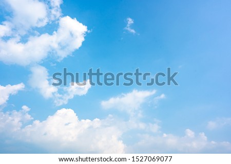 Sky blue or azure sky and clouds is bright white background. Everything lies above surface atmosphere outer space is sky. Cloud is aerosol comprising visible mass  liquid, for creative design graphic #1527069077