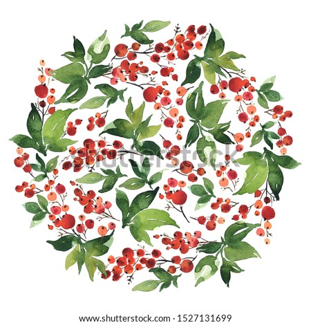 Watercolor circle composition of holly berries and green leaves for Christmas decoration #1527131699