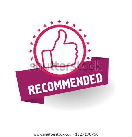 red vector illustration banner recommended with thumbs up #1527190760
