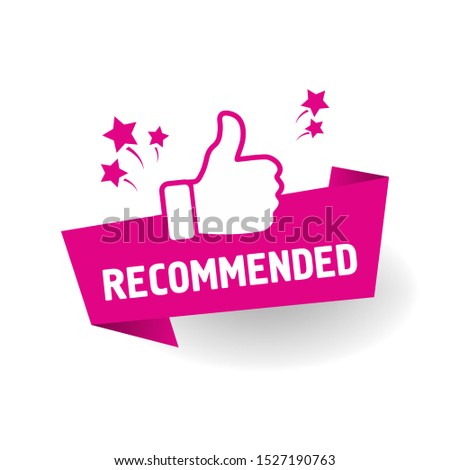 red vector illustration banner recommended with thumbs up #1527190763