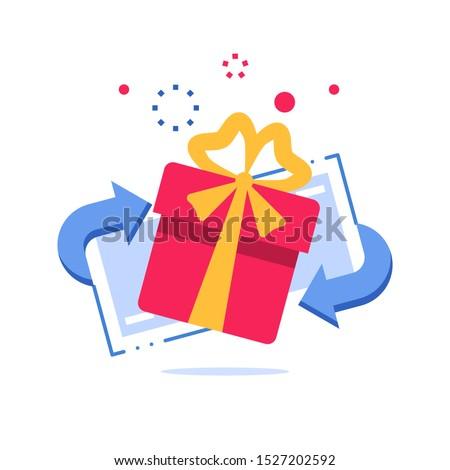 Prize giveaway, loyalty card, present box, gift certificate, incentive or perks, bonus program, discount coupon, vector flat design illustration #1527202592