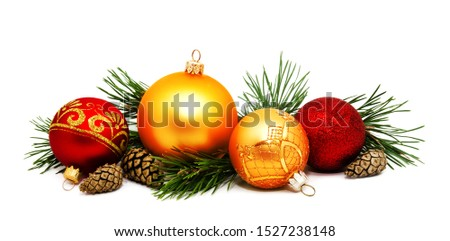 Christmas decoration golden yellow and red balls with fir cones and fir tree branches isolated on a white background  #1527238148