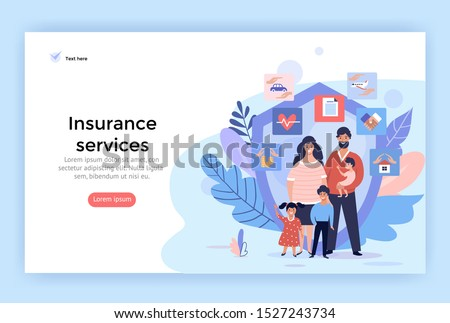 Family insurance services concept illustrations, perfect for web design, banner, mobile app, landing page, vector flat design #1527243734