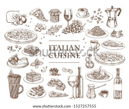 Italian Cuisine vector illustration. Set of traditional italian dishes. Food menu design template. Vintage hand drawn sketch. Engraved image Royalty-Free Stock Photo #1527257555