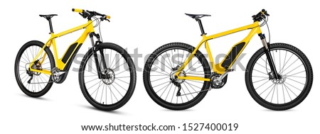 xellow ebike pedelec set with battery powered motor bicycle moutainbike. mountain bike ecology modern transport concept isolated on white background #1527400019