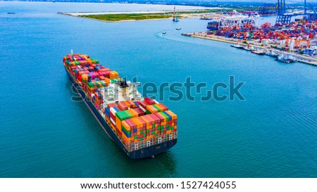 Cargo containers ship logistics transportation Container Ship Vessel Cargo Carrier. import export logistic international export and import services export products worldwide #1527424055
