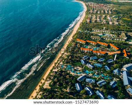 Aerial view of Muro Alto's beach, a beach located on the Ipojuca city, in Pernambuco, Brazil. One of the most visited beaches on Pernambuco's seaside  with luxury resorts on the coast.  #1527473690