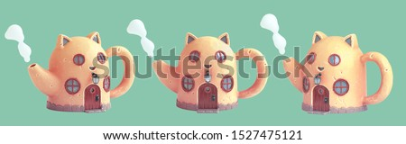 Set of a funny yellow teapot with cat ears, round windows and a wooden door with steam from a spout. Saving money concept art with cute cartoon cat house piggy bank. 3d rendering on green background.