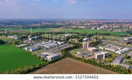 Parma / Italy - 10/02/2019: Aerial view of the Campus of the University of Parma #1527504602