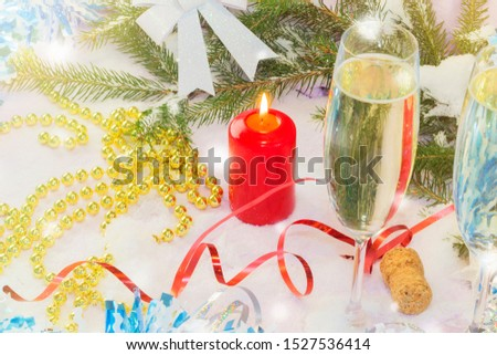 Christmas card with Christmas tree and decorations. Festive Christmas card #1527536414