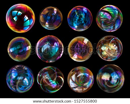 soap bubbles isolated on black background #1527555800