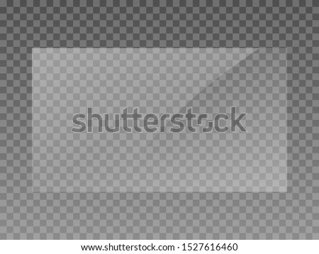 Plastic window realistic look template. Transparent acrilyc sheet isolated vector. Easily scale #1527616460