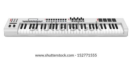 gray synthesizer isolated on white background #152771555