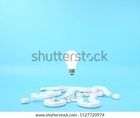 The question mark and difference Lightbulb floating on blue background. minimal creative idea concept. 3D render. #1527720974