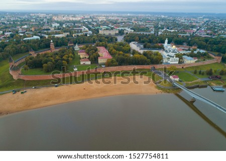 View from the height of the Novgorod detinets on a cloudy September morning (aerial photography). Veliky Novgorod, Russia #1527754811