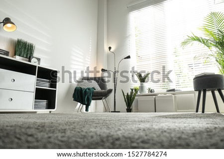 Beautiful tropical plants with lush leaves in stylish living room interior, low angle view Royalty-Free Stock Photo #1527784274