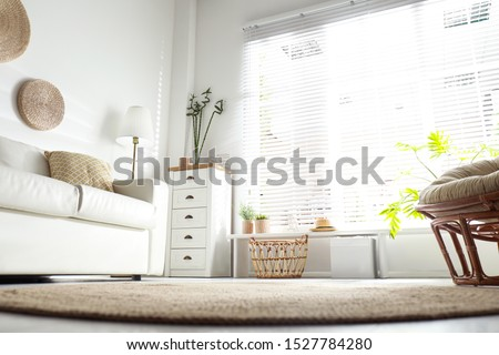 Beautiful tropical plants with green leaves in stylish living room interior, low angle view Royalty-Free Stock Photo #1527784280