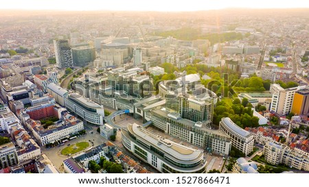 Brussels, Belgium. The complex of buildings of the European Parliament. State institution, Aerial View   Royalty-Free Stock Photo #1527866471