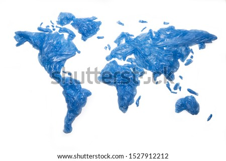 Global plastic pollution concept. World map with plastic trash bags on the continents. Royalty-Free Stock Photo #1527912212