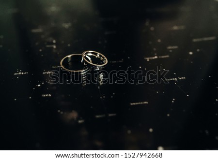 Black and white picture of wedding rings lying on Zodiac signs. Top view.
