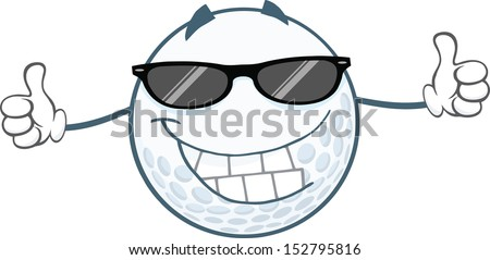 Smiling Golf Ball With Sunglasses Giving A Thumb Up. Raster Illustration