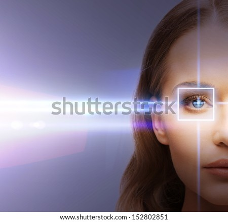 health, vision, sight - woman eye with laser correction frame Royalty-Free Stock Photo #152802851