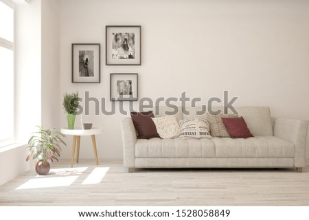 Stylish room in white color with sofa. Scandinavian interior design. 3D illustration #1528058849