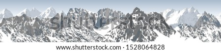 vector seamless mountains karakoram himalayan panorama background #1528064828