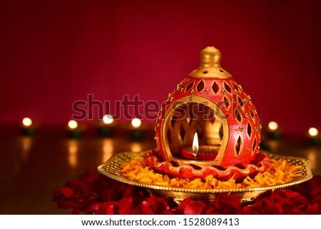 Beautiful diwali diya Background for Indian festival diwali celebration, Diwali lamp #1528089413